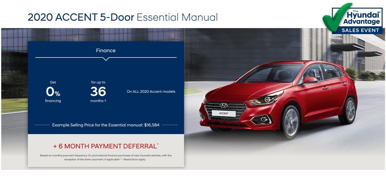 Hyundai Sales Advantage Event - 2020 Accent 5-Door Essential Manual Red | Corey Hyundai