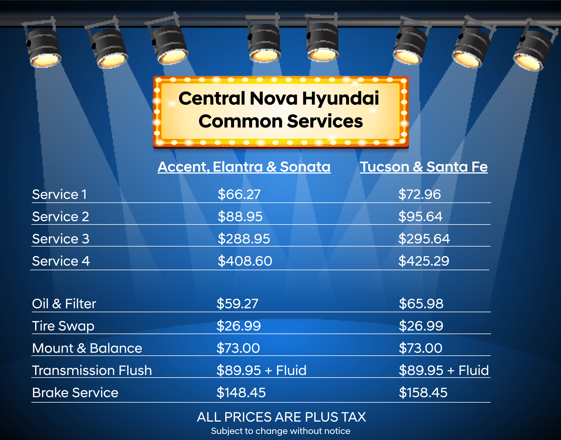 Common Service Pricing