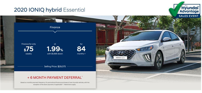 Hyundai Sales Advantage Event - 2020 Ioniq Hybrid Essential White | Corey Hyundai