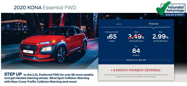 Hyundai Sales Advantage Event - 2020 Kona Essential FWD Red | Corey Hyundai