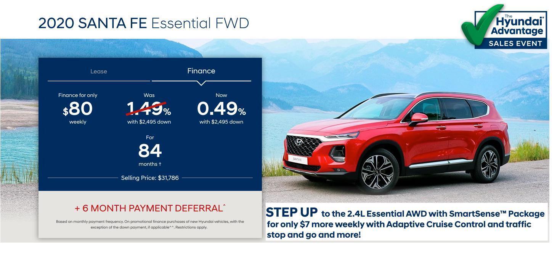 Hyundai Sales Advantage Event - 2020 Santa Fe Essential FWD Red | Corey Hyundai
