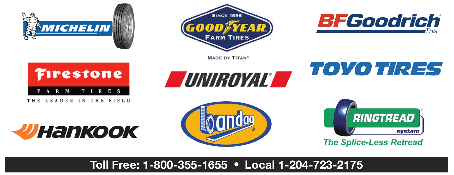 Logos of tire brands available