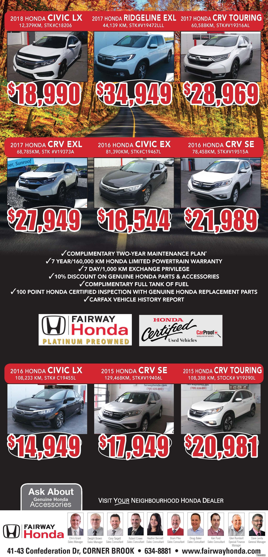 Fariway Honda Pre-Owned Specials October