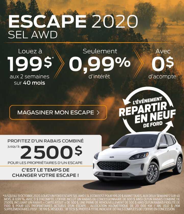 Offre Escape 2020