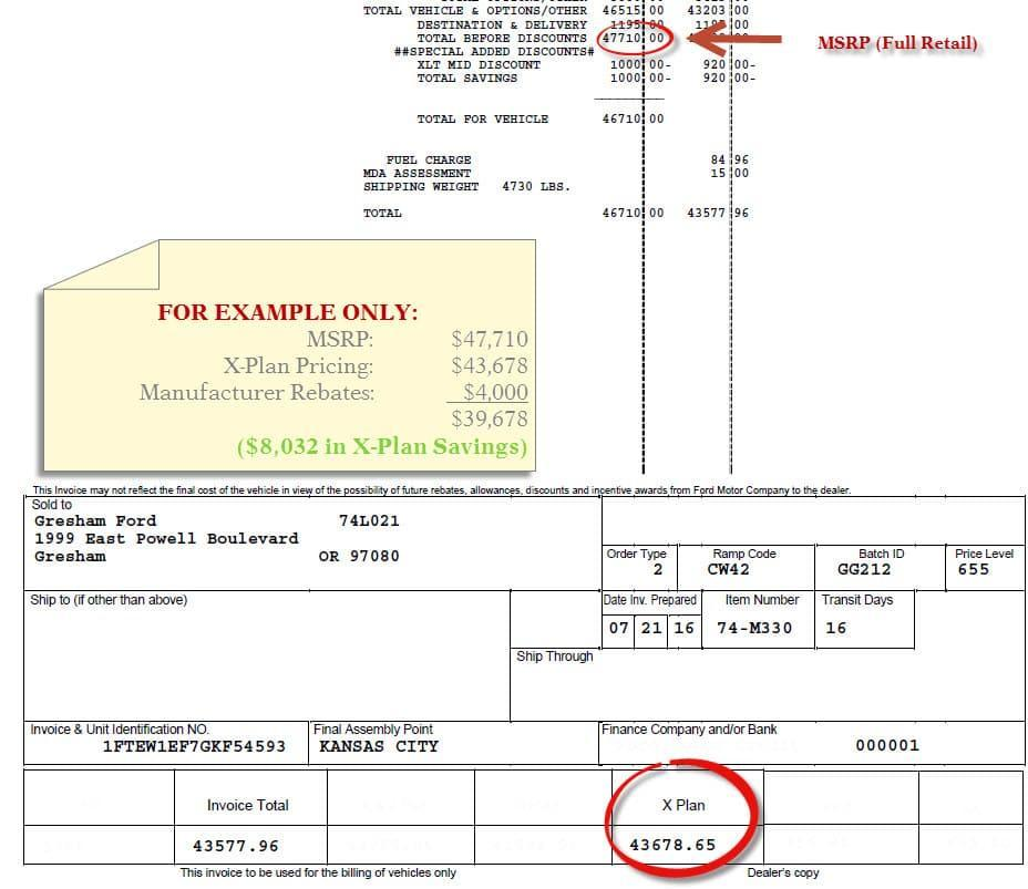 ford x-plan sample invoice
