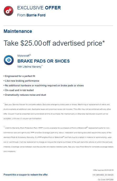 Barrie Ford Service Offer