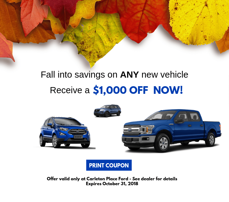 October $1000 Off Coupon on any New vehicle