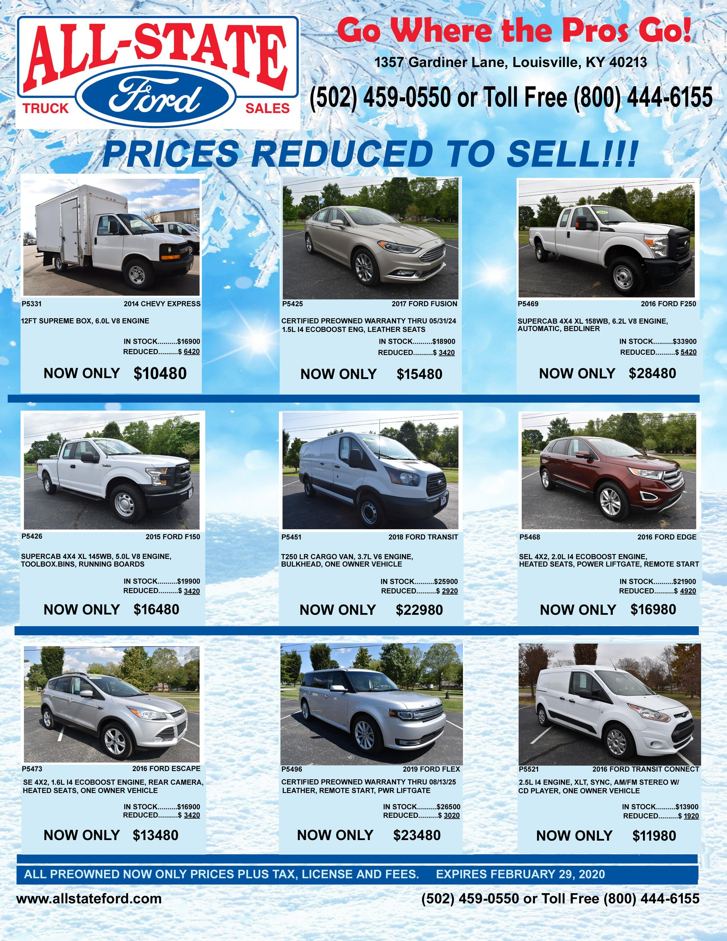 PREOWNED VEHICLE SPECIALS