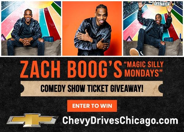 Zach Boog Laugh Factory Ticket Giveaway | Chevy Drives Chicago | Zach Boog's Magic Silly Mondays