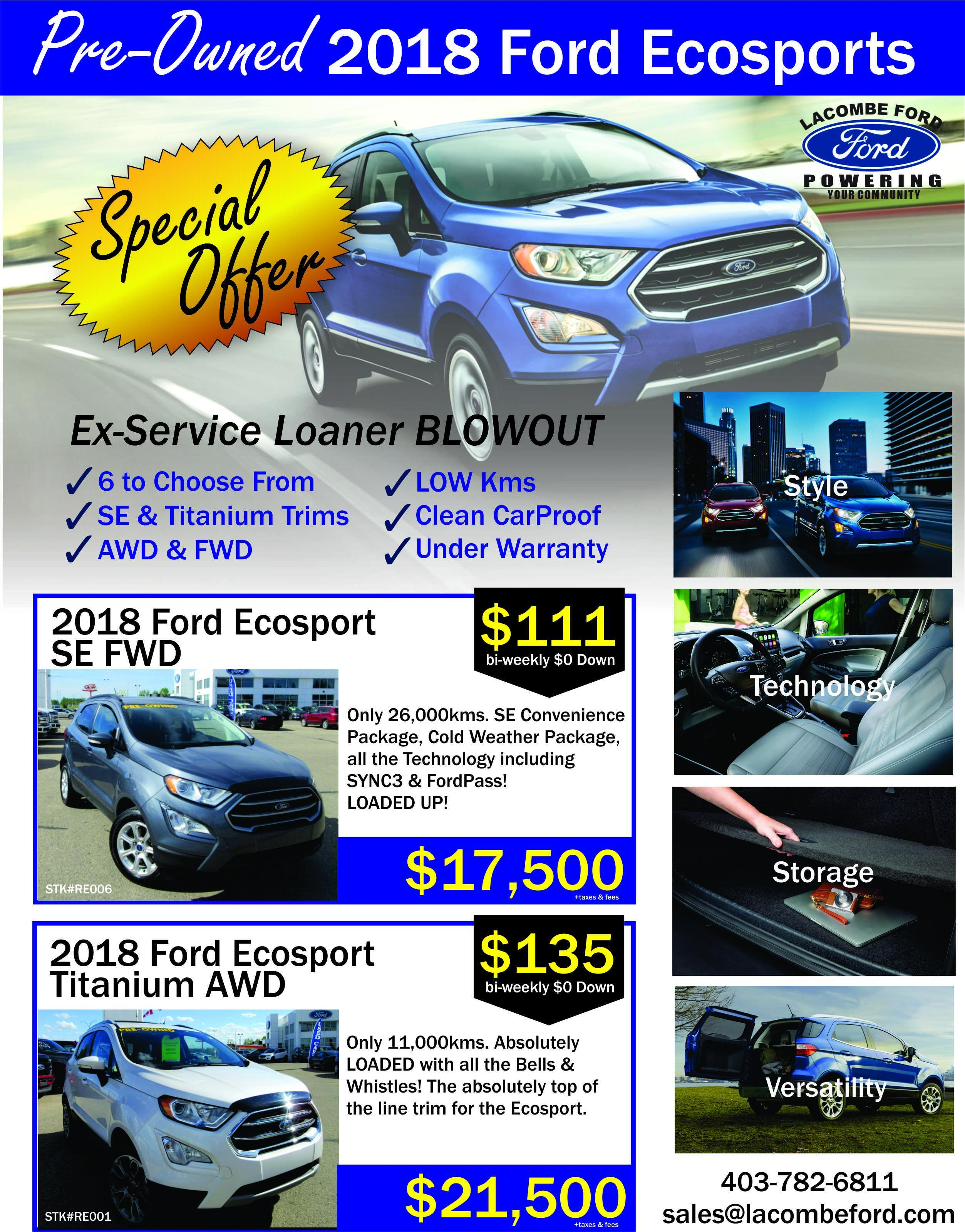 pre-owned 2018 ford ecosport special offer lacombe ford