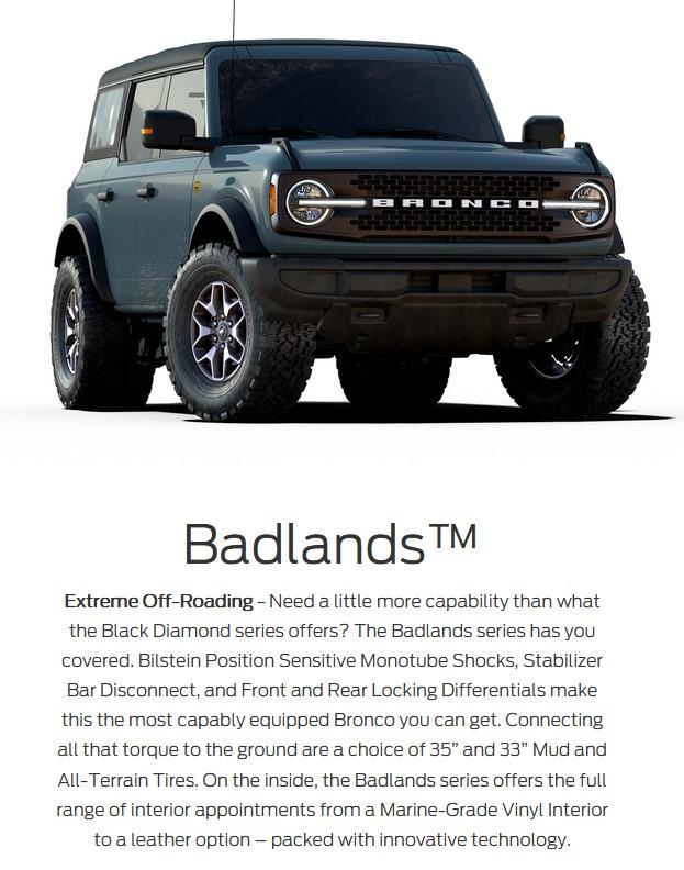 2021 Ford bronco 4 door badlands series lacombe ford alberta