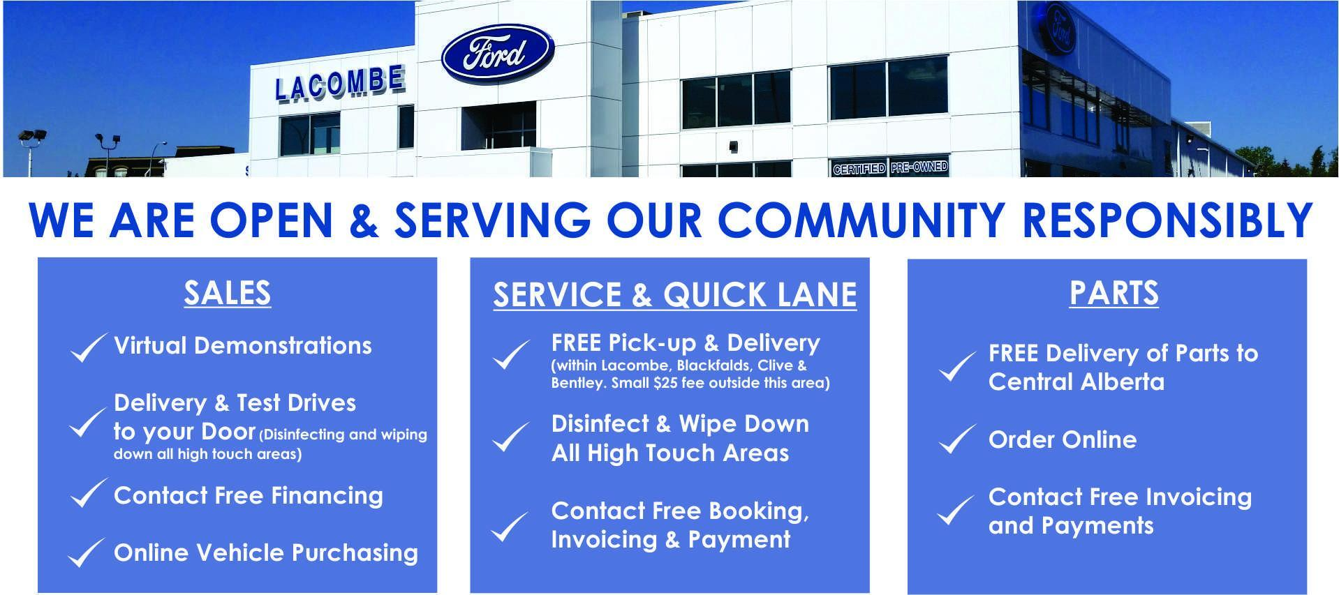 COVID-19 PRECAUTIONS AND ONLINE SALES LACOMBE FORD