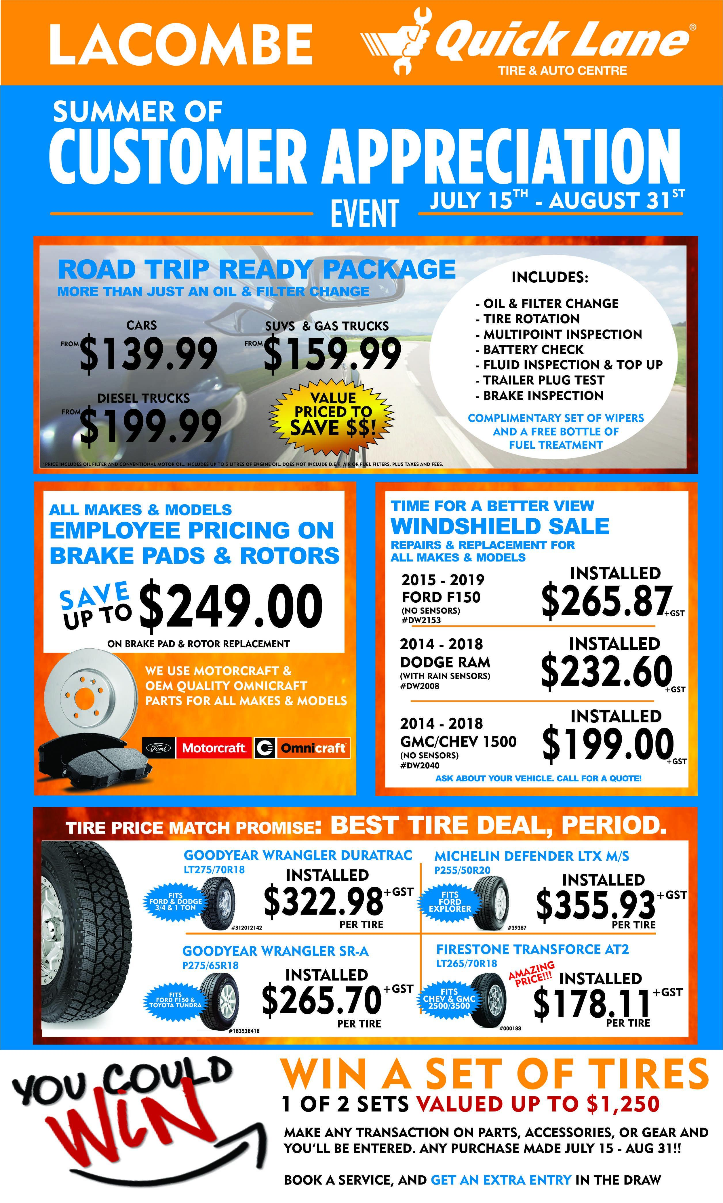 quick lane customer appreciation sale oil change brakes tires lacombe windshields