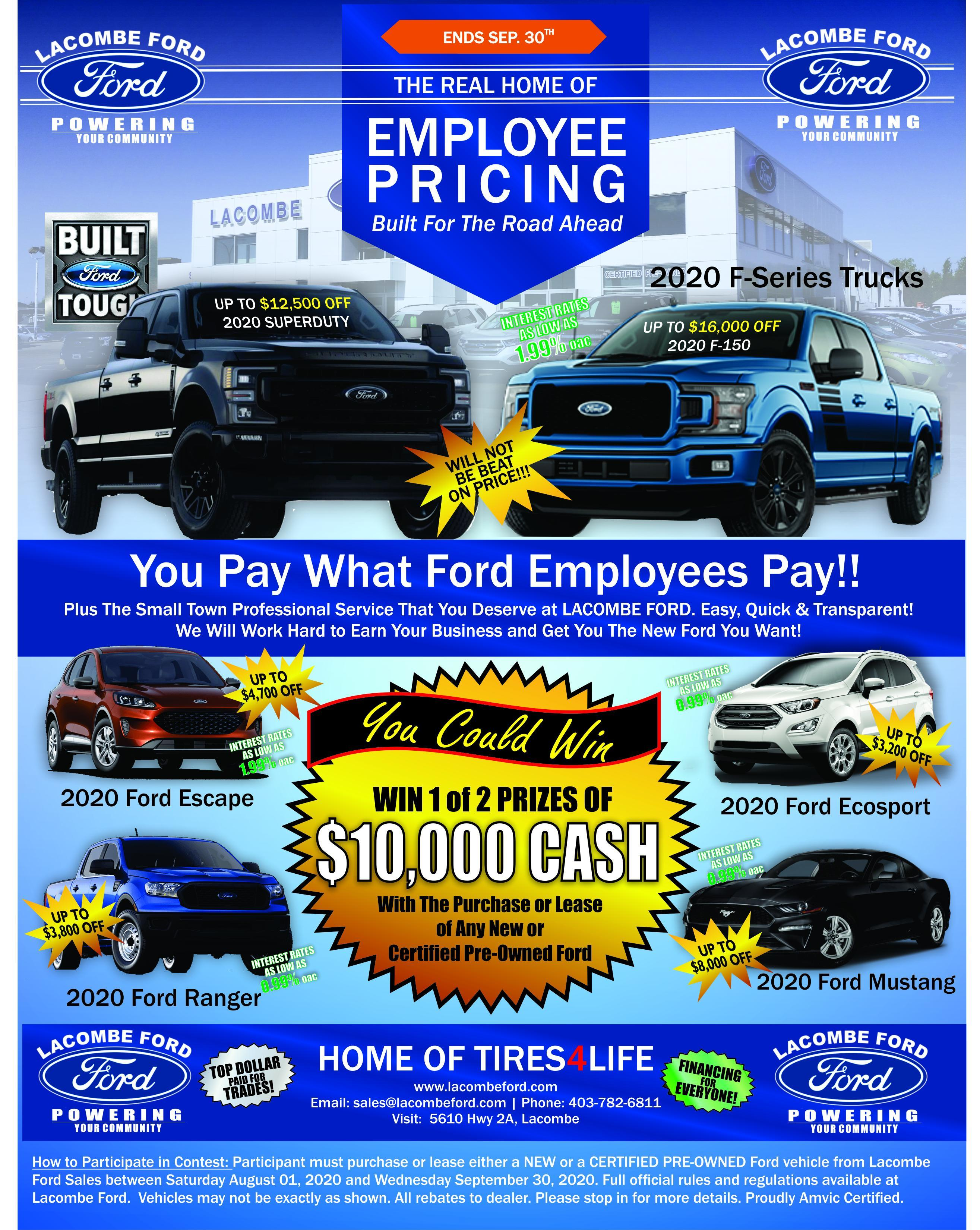 employee pricing at lacombe ford