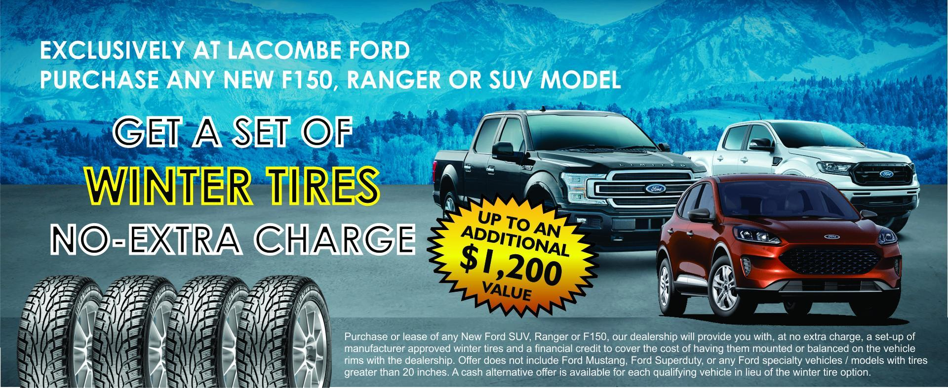 FREE SET OF WINTER TIRES WITH SELECT NEW VEHICLE PURCHASE AT LACOMBE FORD ALBERTA