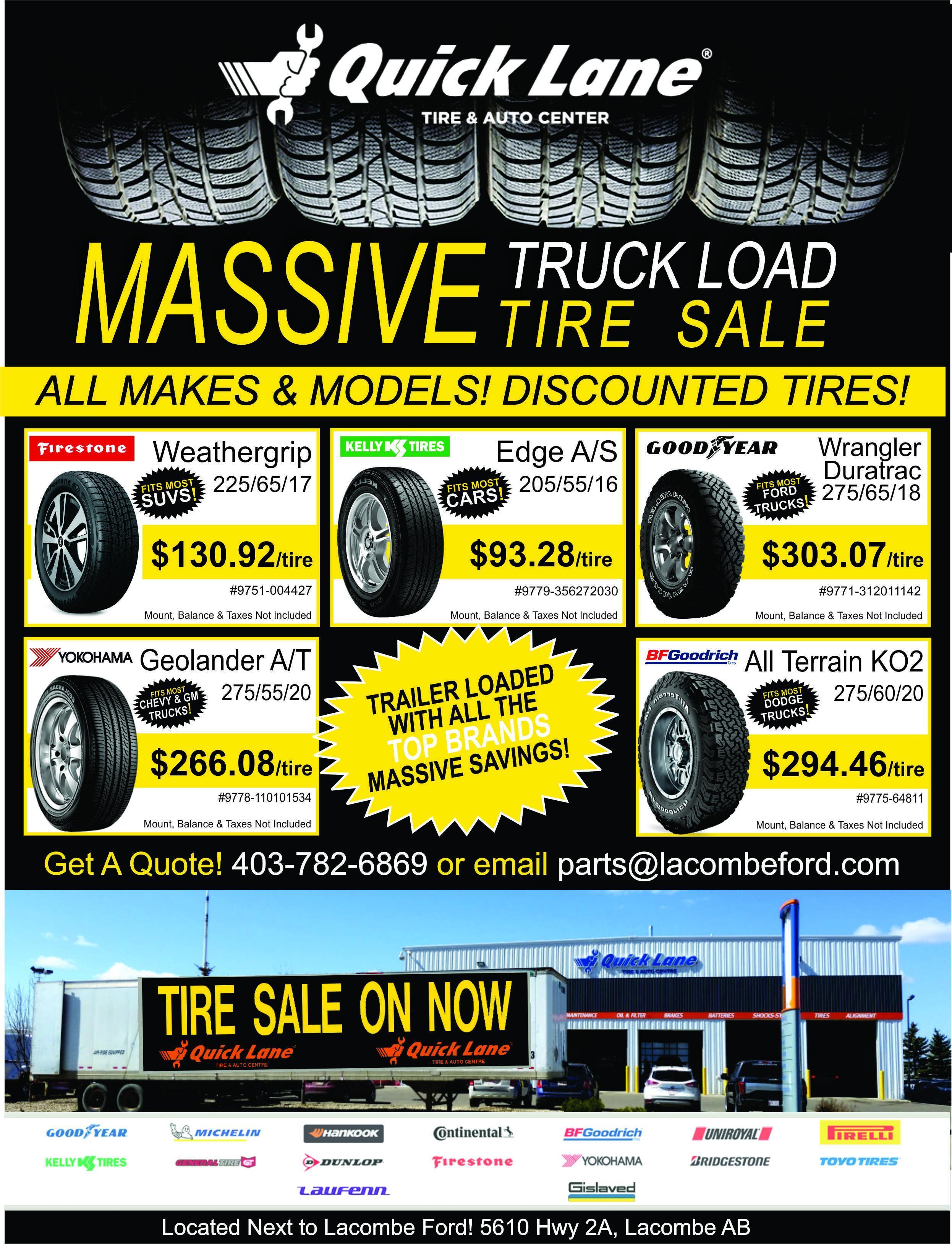 massive truck load tire sale at lacombe quick lane