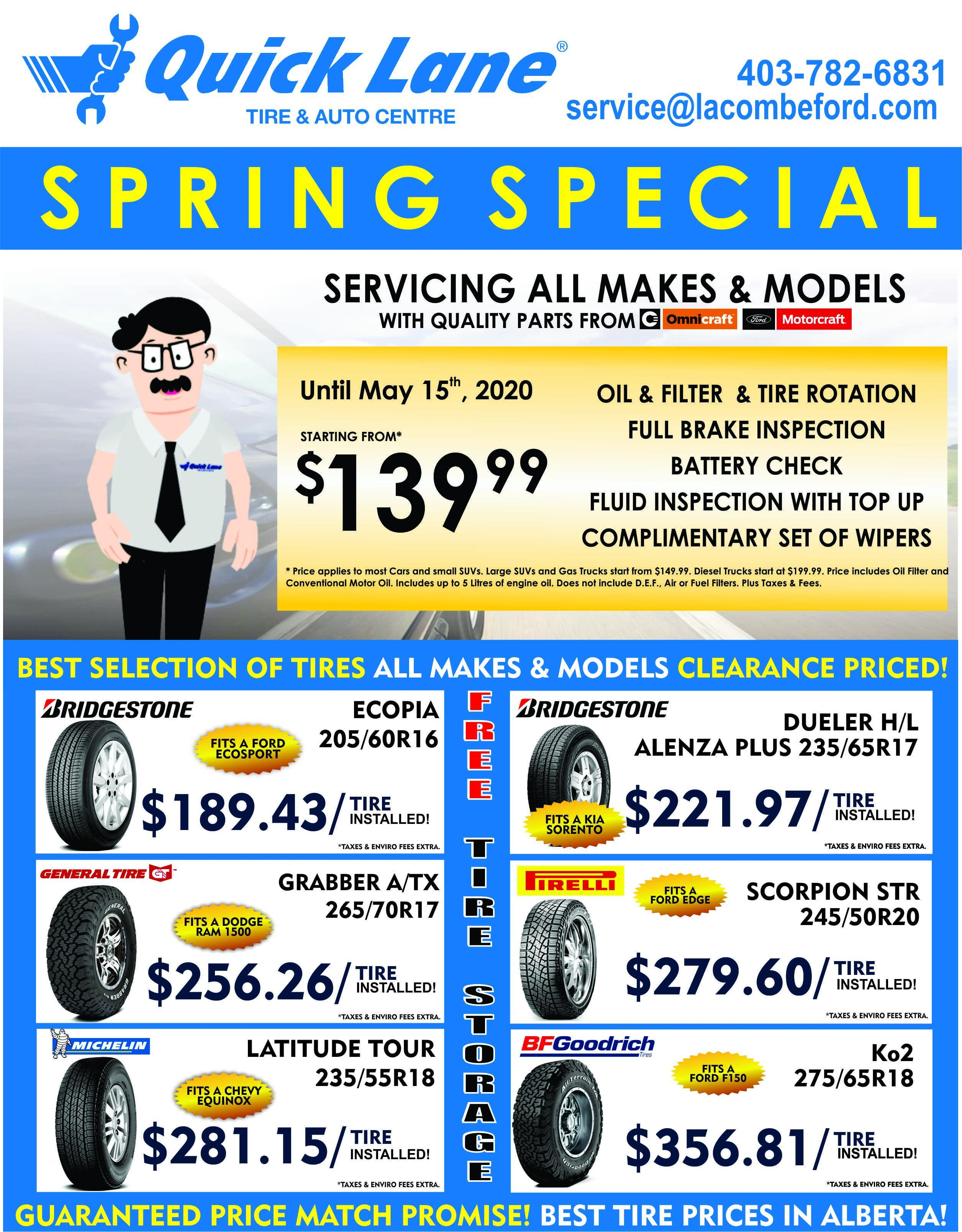 lacombe quick lane tire and auto centre spring special and tire deals alberta