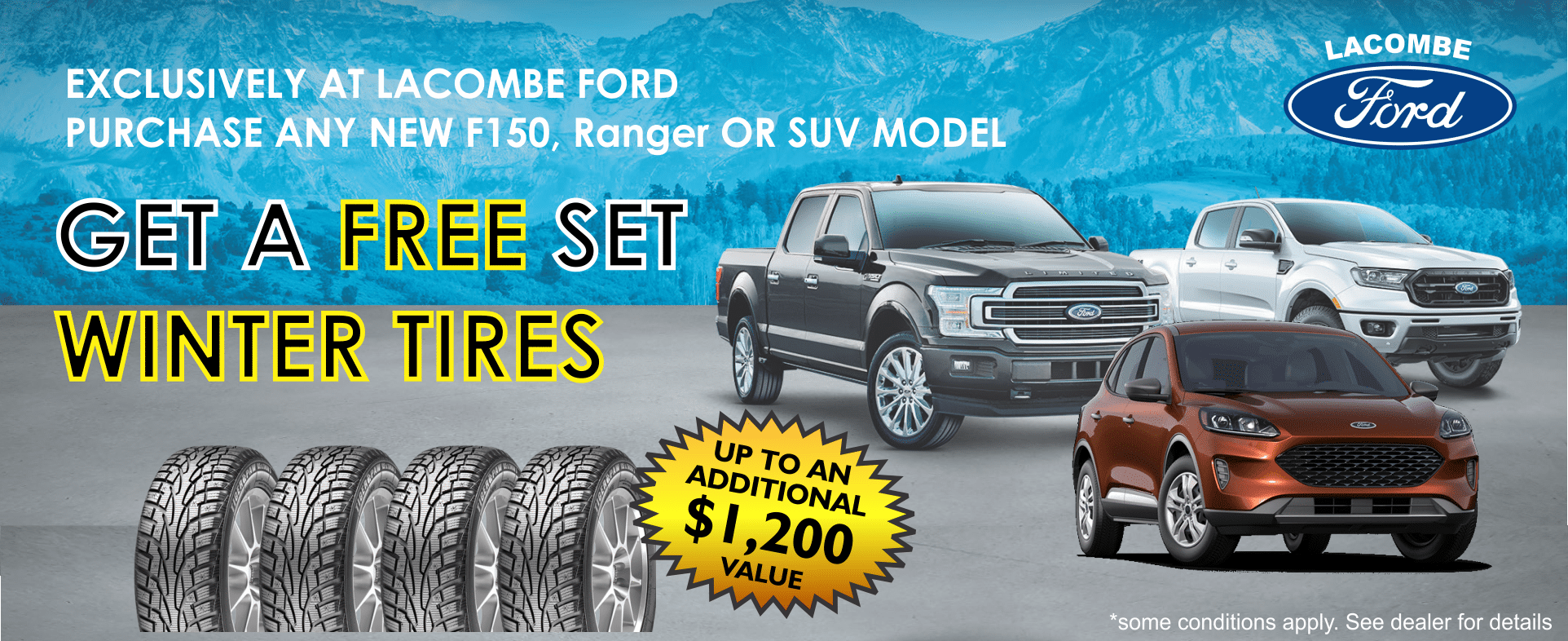 LACOMBE FORD NEW FORDS FOR SALE FREE SET OF WINTER TIRES