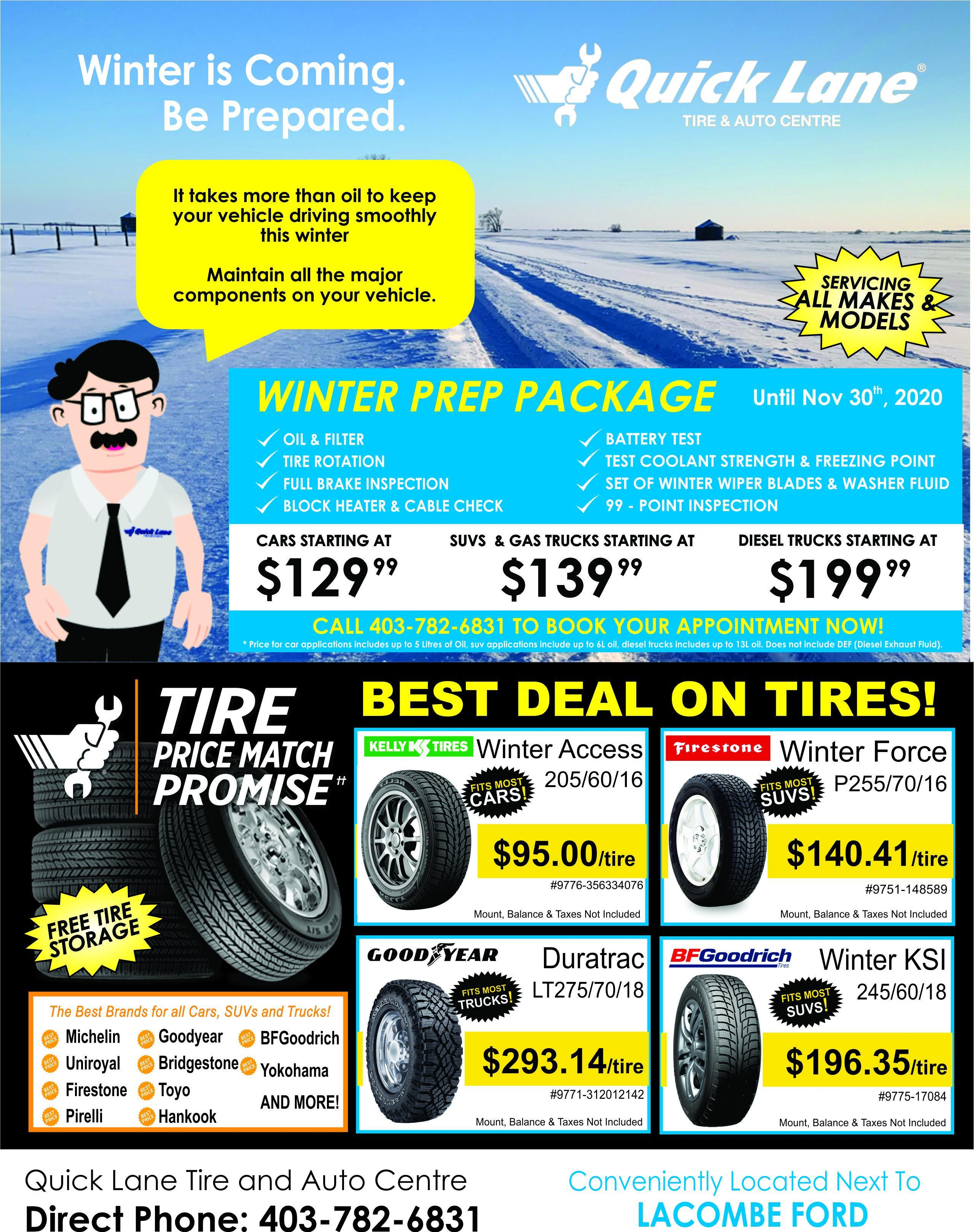 lacombe quick lane tire and auto centre winter prep package