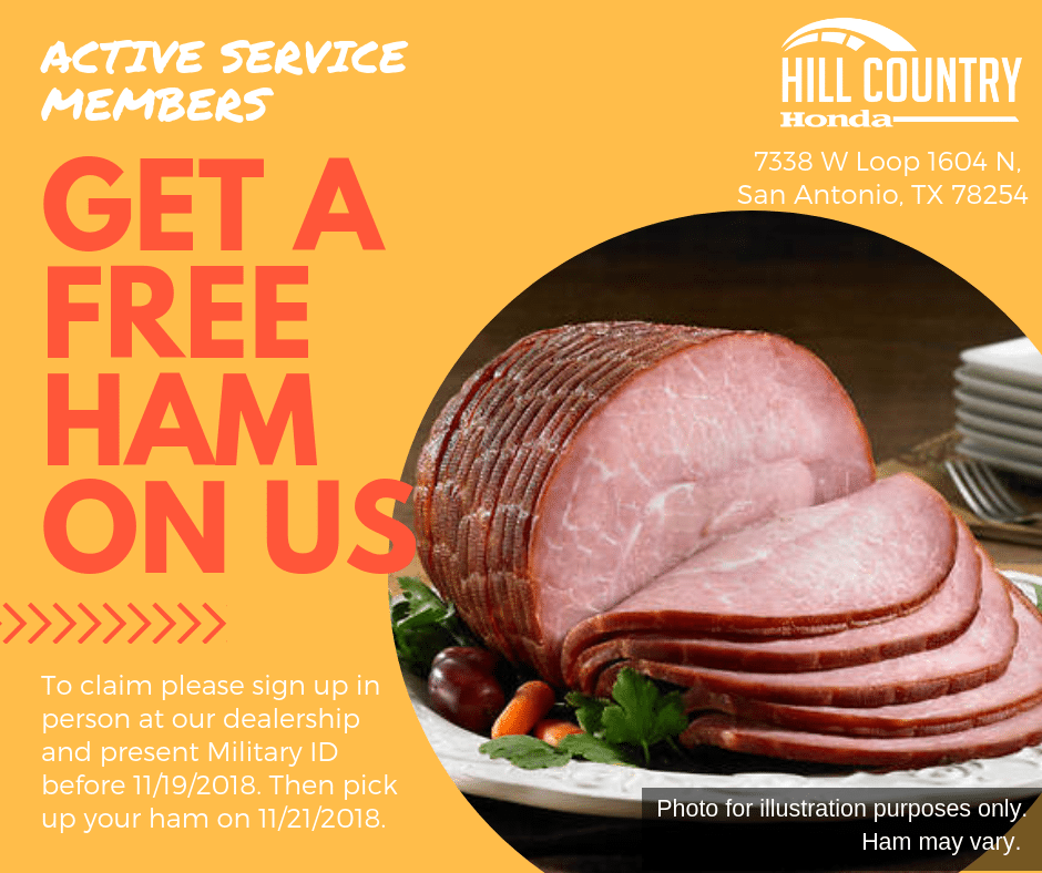 Active Military Get Free Ham at Hill Country Honda
