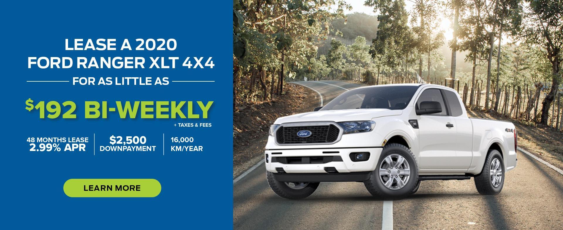 Lease a 2020 Ford Ranger XLT 4x4 for $192 bi-weekly