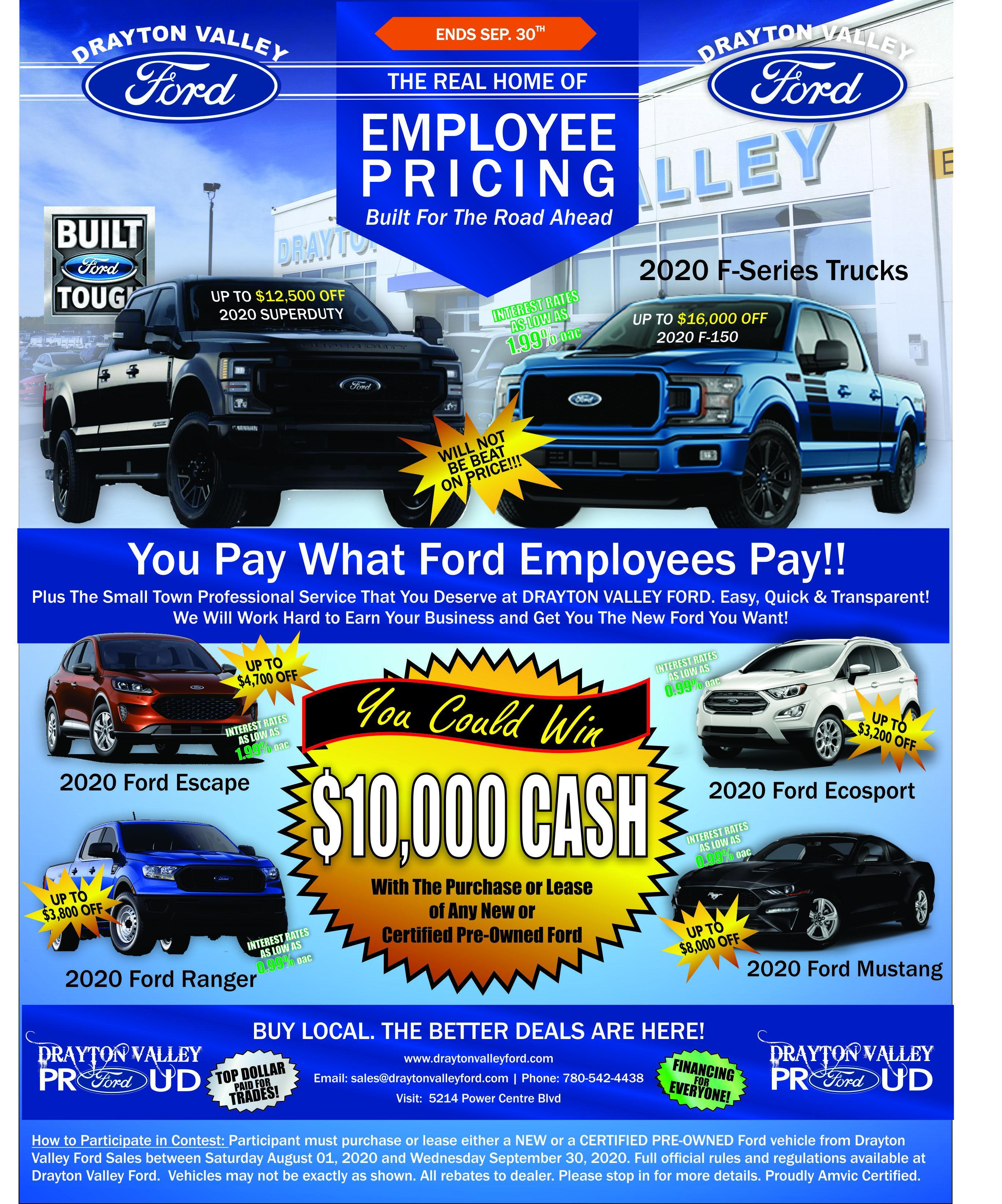 ford employee pricing at drayton valley ford
