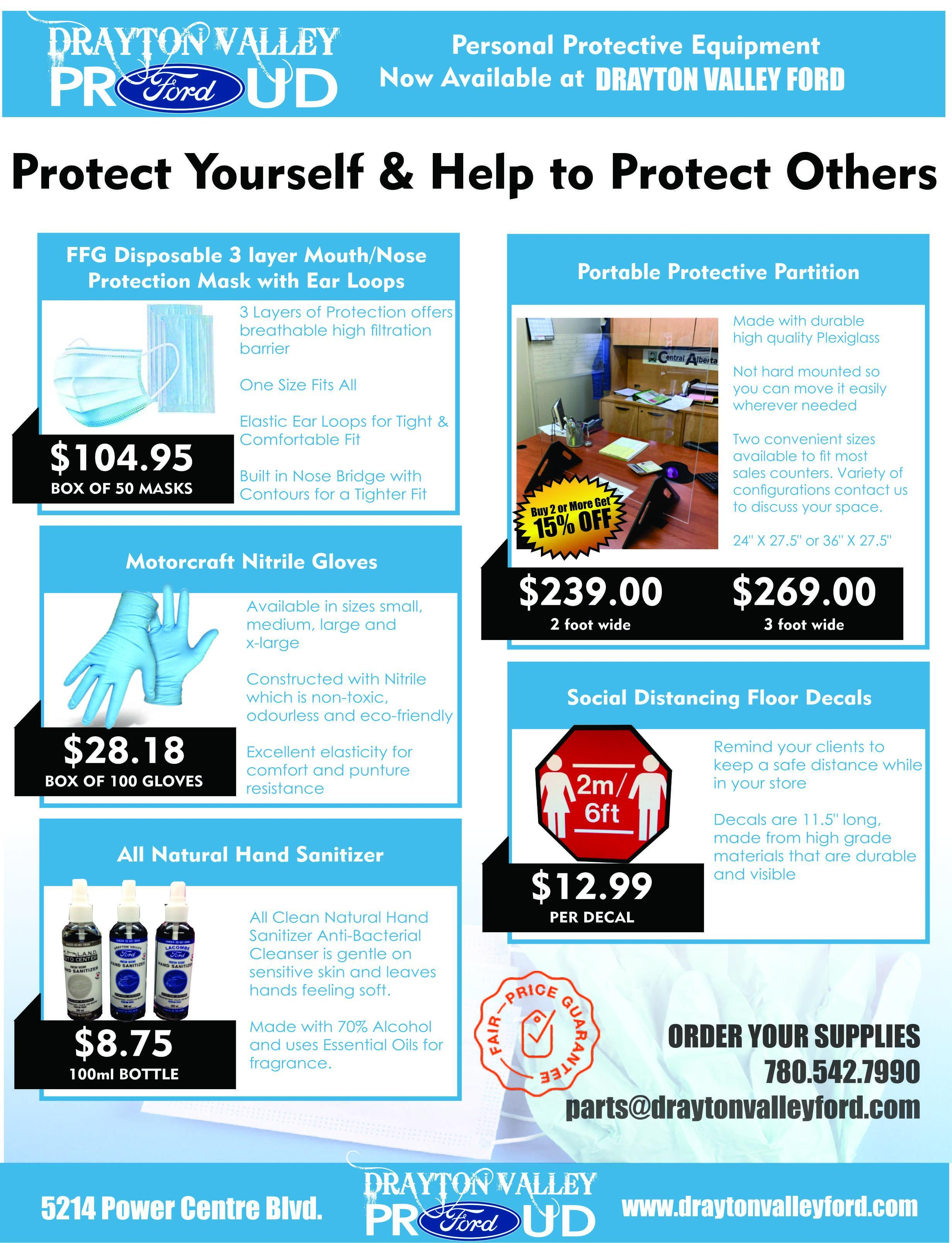 Personal Protective Equipment AVAILABLE NOW at Drayton Valley Ford