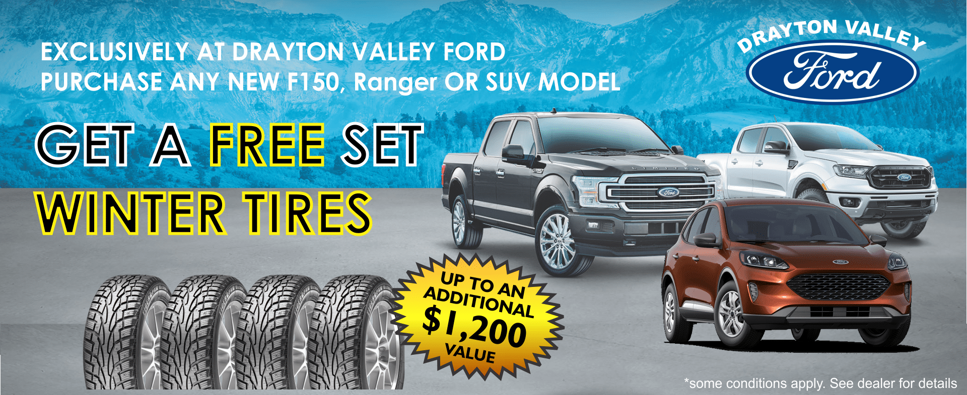 FREE WINTER TIRES WITH NEW FORD TRUCK AND SUV AT DRAYTON VALLEY FORD ALBERTA