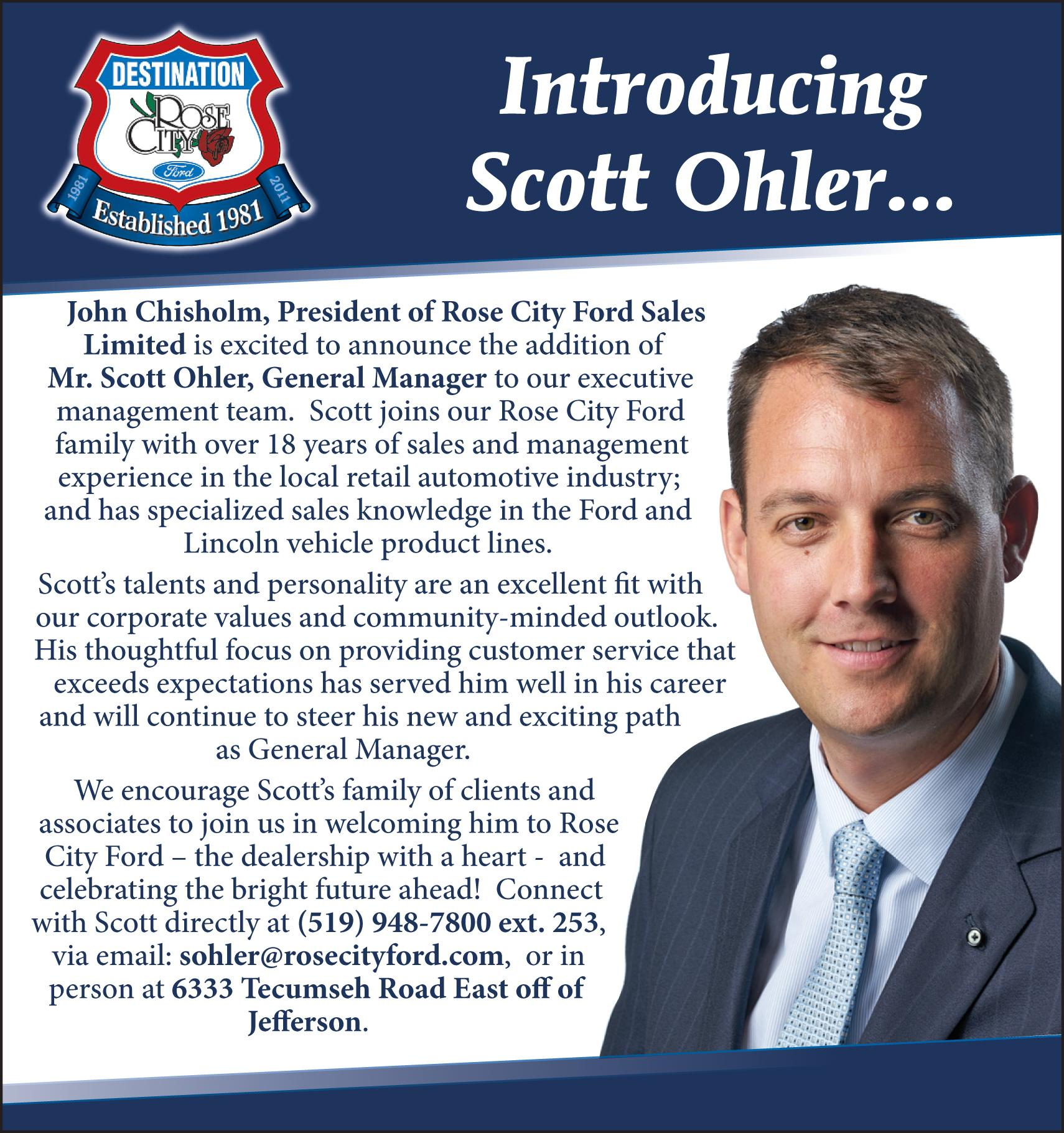 Ford Welcome Scott Ohler to the Rose City Ford family image