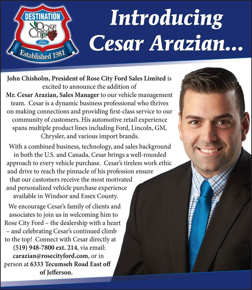 Ford Welcome Cesar Arazian to the Rose City Family image