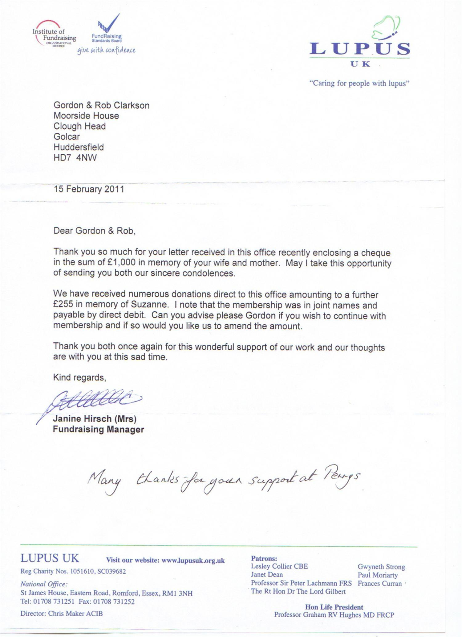 Perrys Bury Raises 1,000 Pounds for Lupus UK