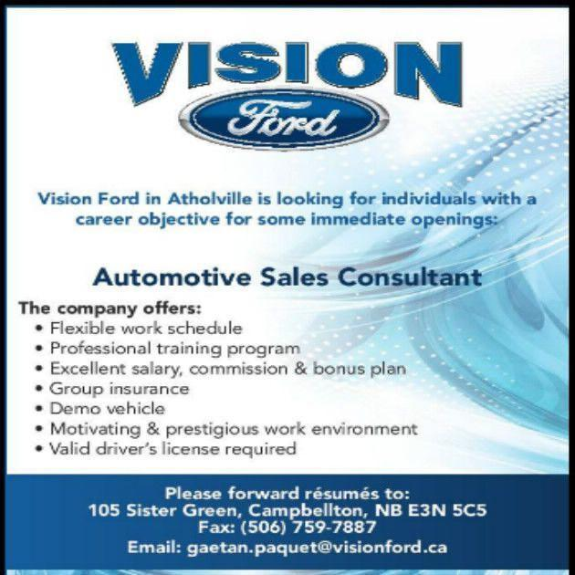 Vision Ford Sales job opportunity