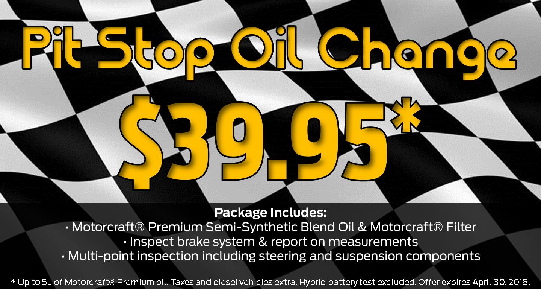 Pit Stop Oil Change Promo April 2018