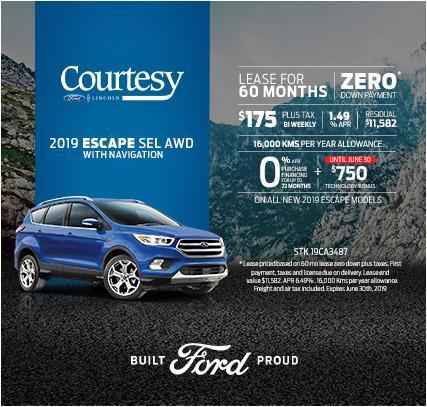 Courtesy Ford 2019 Escape Offer