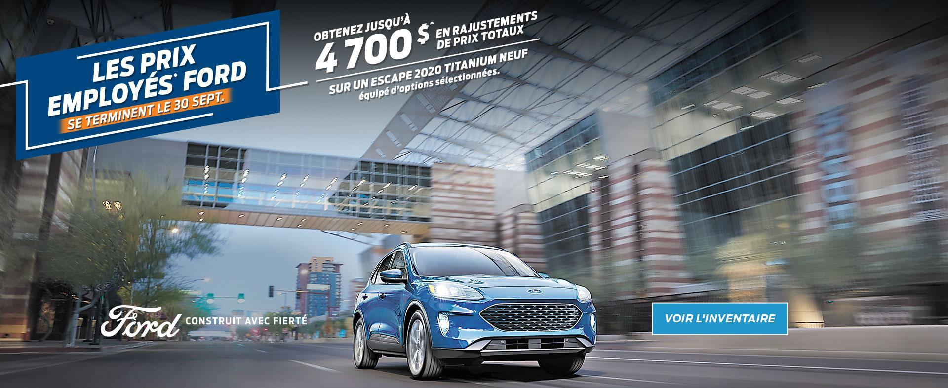 Ford Employee Pricing | 2020 Escape | Ford of Canada
