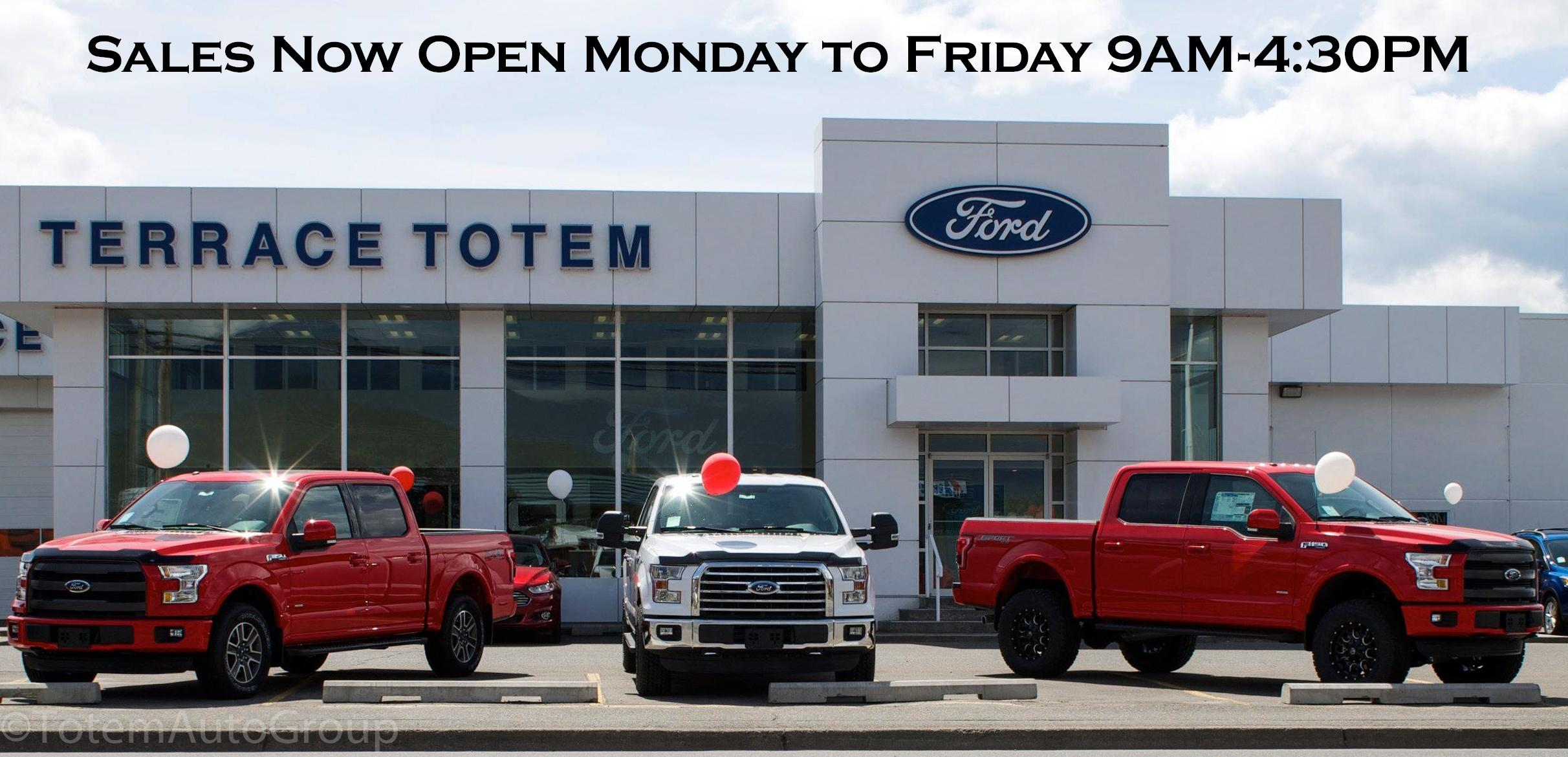 Sales Now Open Mon to Fri 9AM - 4:30PM
