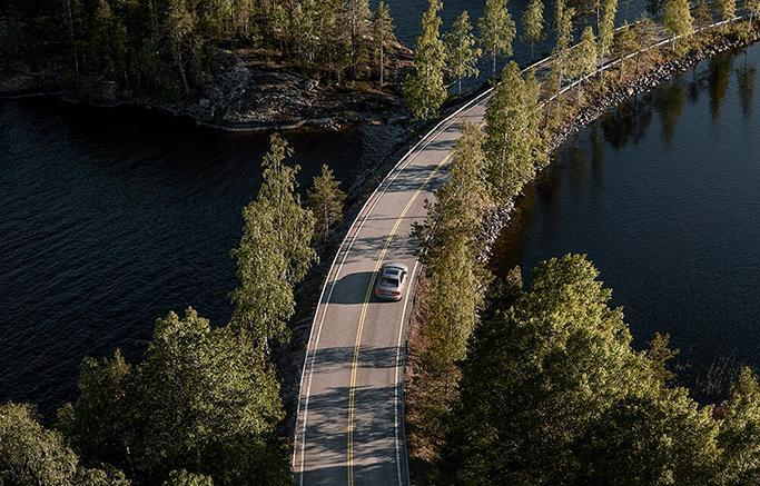 New 2019 volvo s60 on a mountain road