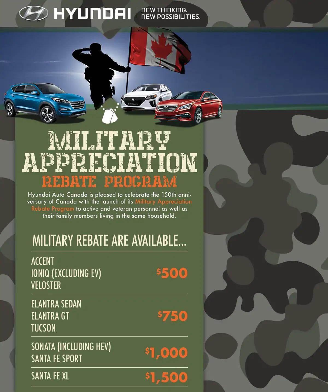 Hyundai Military Appreciation Rebate Program