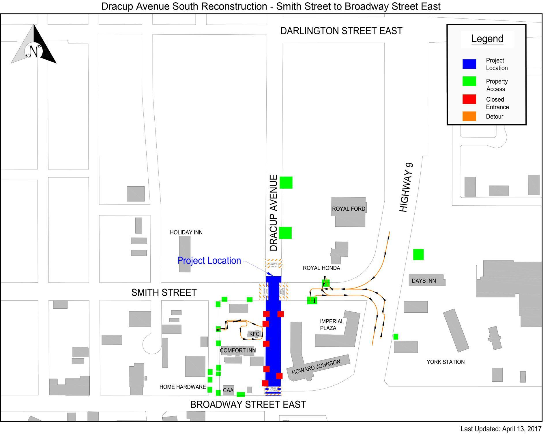 Dracup Ave, Yorkton, SK Construction Map