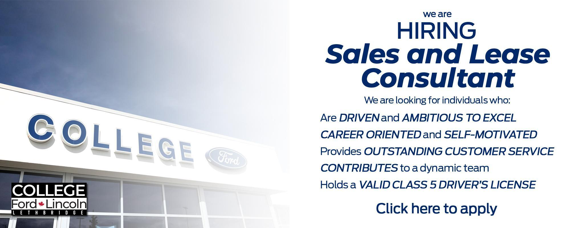 Sales & Lease Consultant Job Listing
