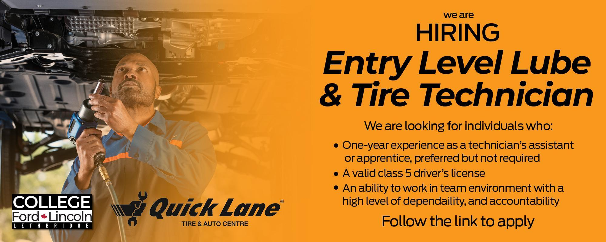 Entry Level Lube & Tire Technician Listing