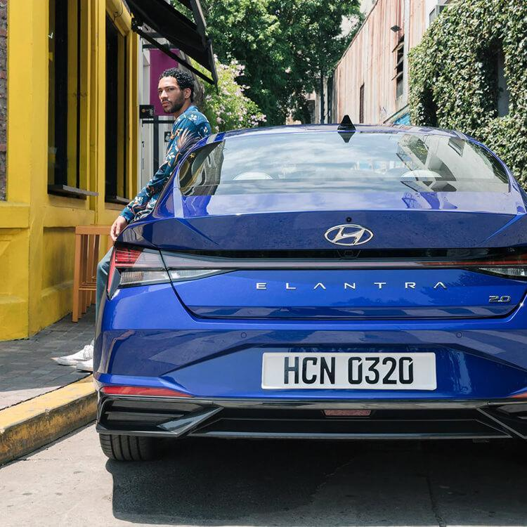All New 2021 Blue Hyundai Elantra back