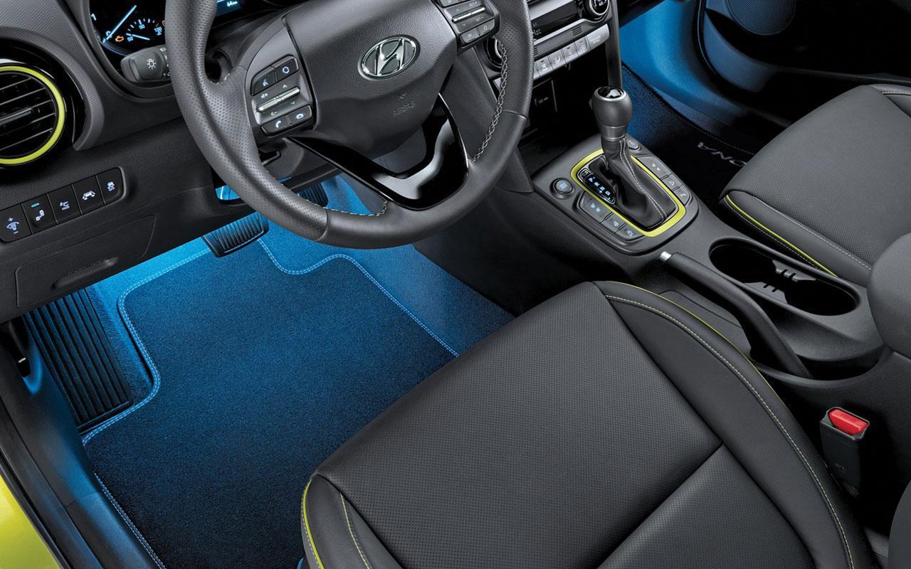 New 2020 Hyundai Kona black leather interior yellow trim