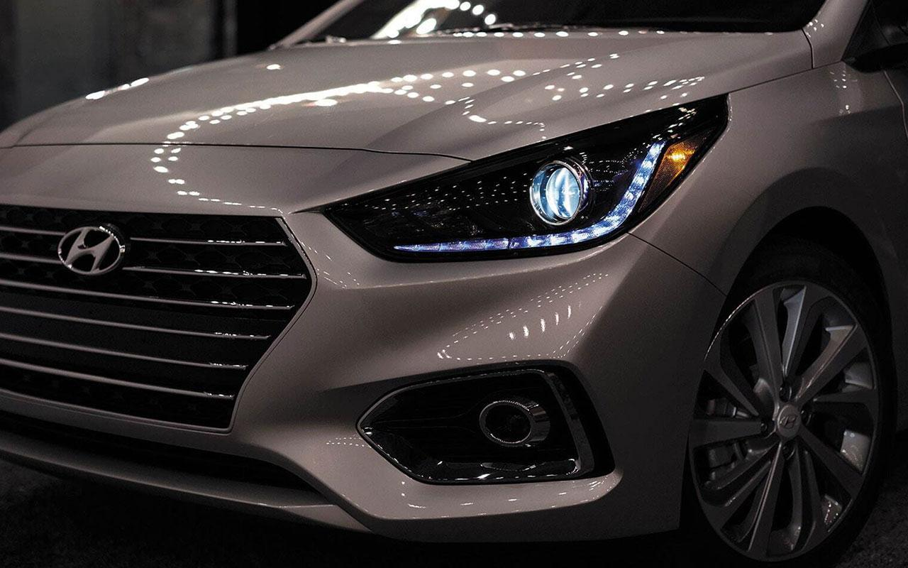 New 2020 White Hyundai Accent front lights