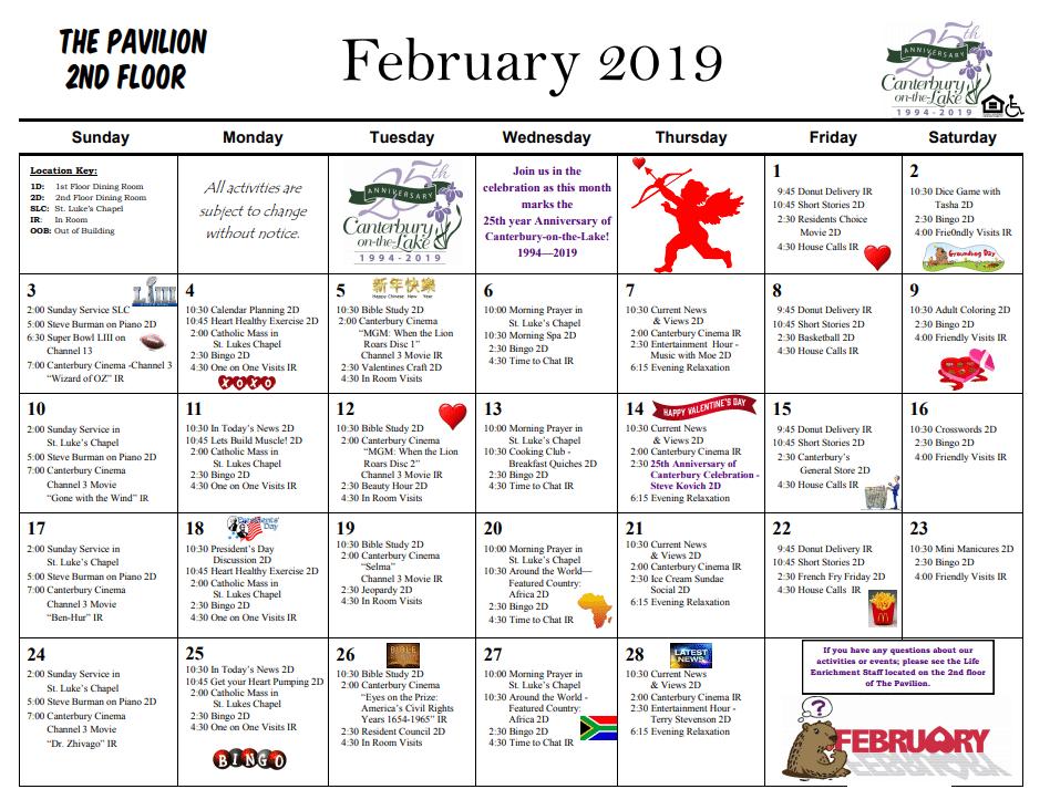 Pavilion Calendar 2nd floor