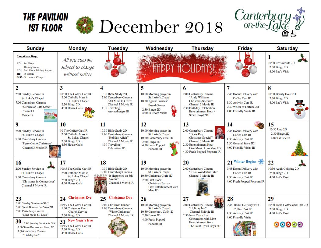 Pavilion Calendar 1st floor