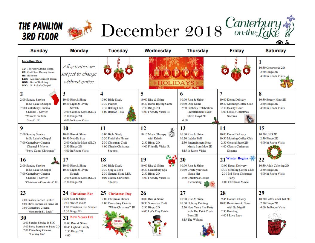 Pavillion Calendar 3d floor