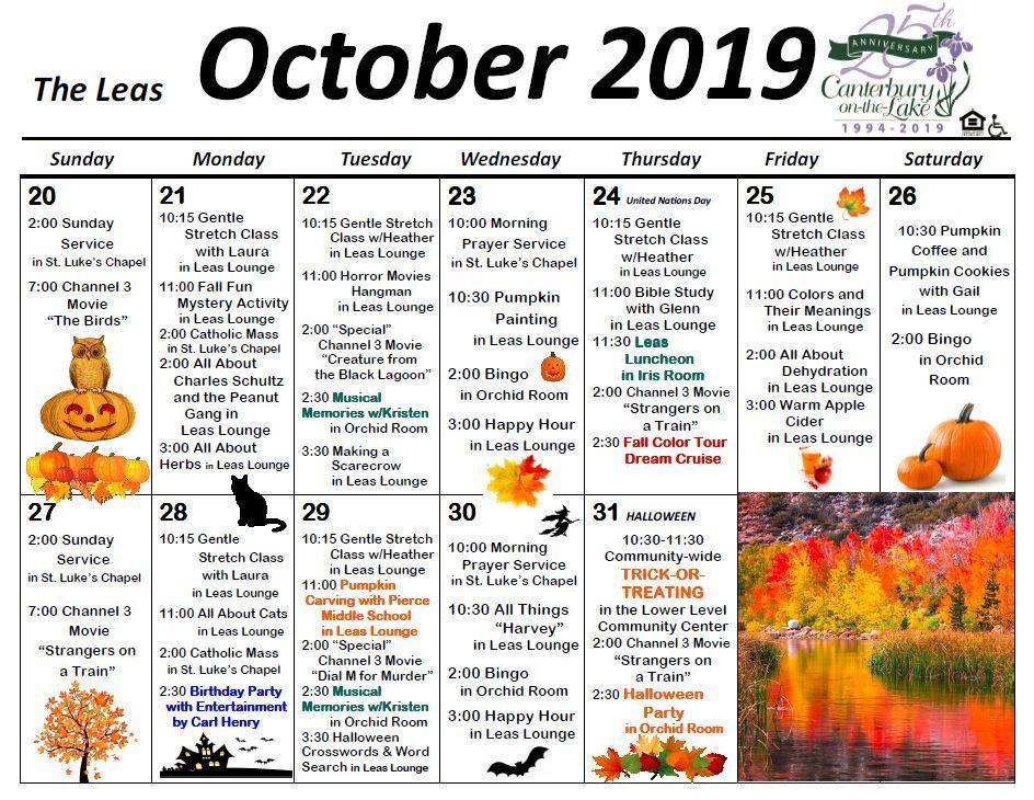 October 2019 Events at Canterbury on the Lake