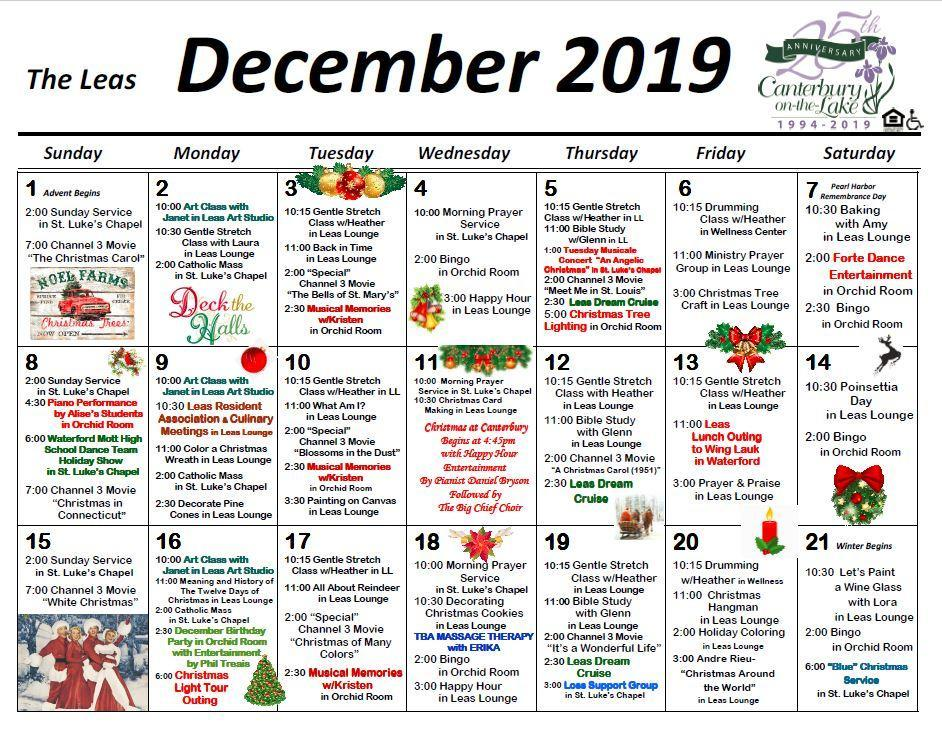 canterbury on the lake activities calendars