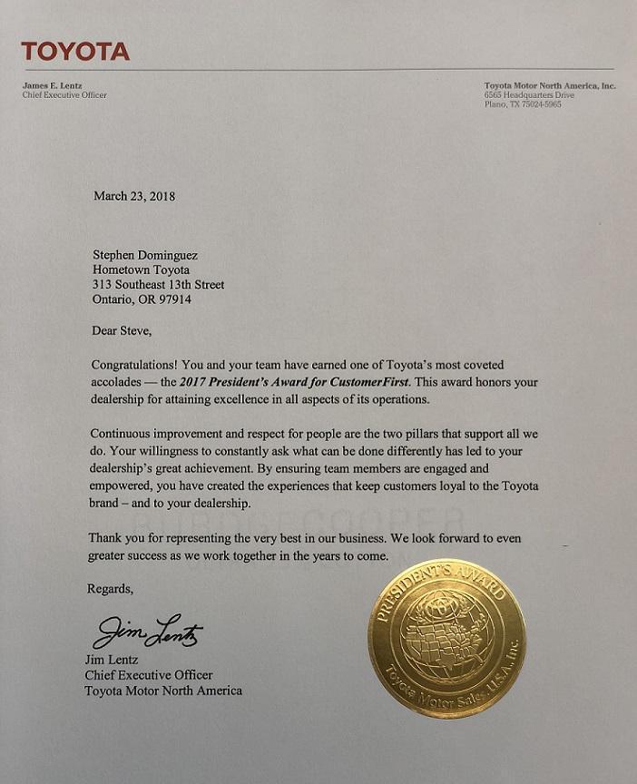 Hometown Toyota 2017 President's Award Winner